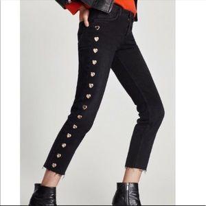 Zara Black Trafaluc Jeans with heart detailing